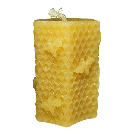 pure beeswax candle - tower with bees and honeycomb