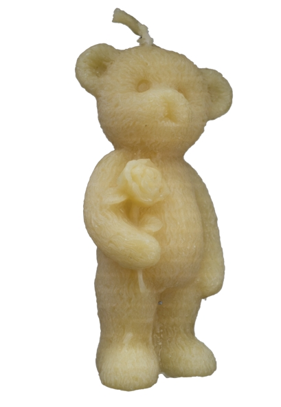 pure beeswax candle - cute bear holding a rose